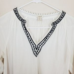 J. Crew White Boho Embroidered Blouse c1601• A20-6